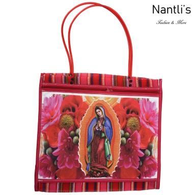 TM-90213 roja Bolsa Tradicional Mexicana Virgen de Guadalupe Mayoreo Wholesale Mexican Tote Bag Nantlis Tradicion de Mexico