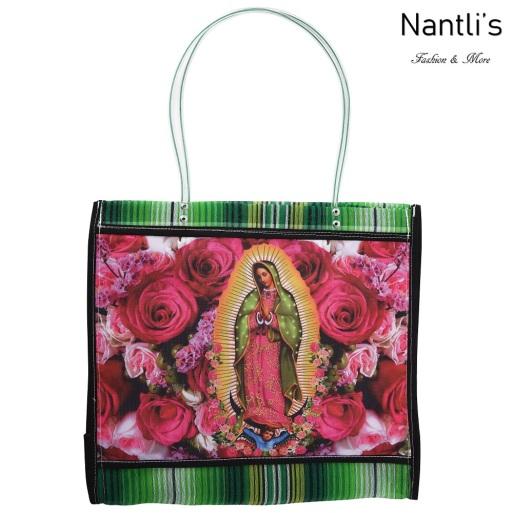 TM-90213 verde Bolsa Tradicional Mexicana Virgen de Guadalupe Mayoreo Wholesale Mexican Tote Bag Nantlis Tradicion de Mexico