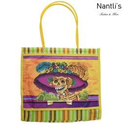 TM-90214 amarillo Bolsa Tradicional Mexicana catrina Mayoreo Wholesale Mexican Tote Bag Nantlis Tradicion de Mexico