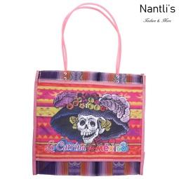 TM-90214 rosa Bolsa Tradicional Mexicana catrina Mayoreo Wholesale Mexican Tote Bag Nantlis Tradicion de Mexico